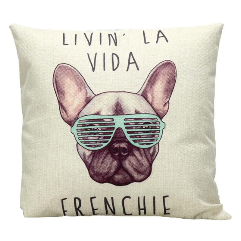 1PC Cotton Cool dog wearing Glasses pillowcase slip retro cushion pillow cover case letter style drop shipping on sale
