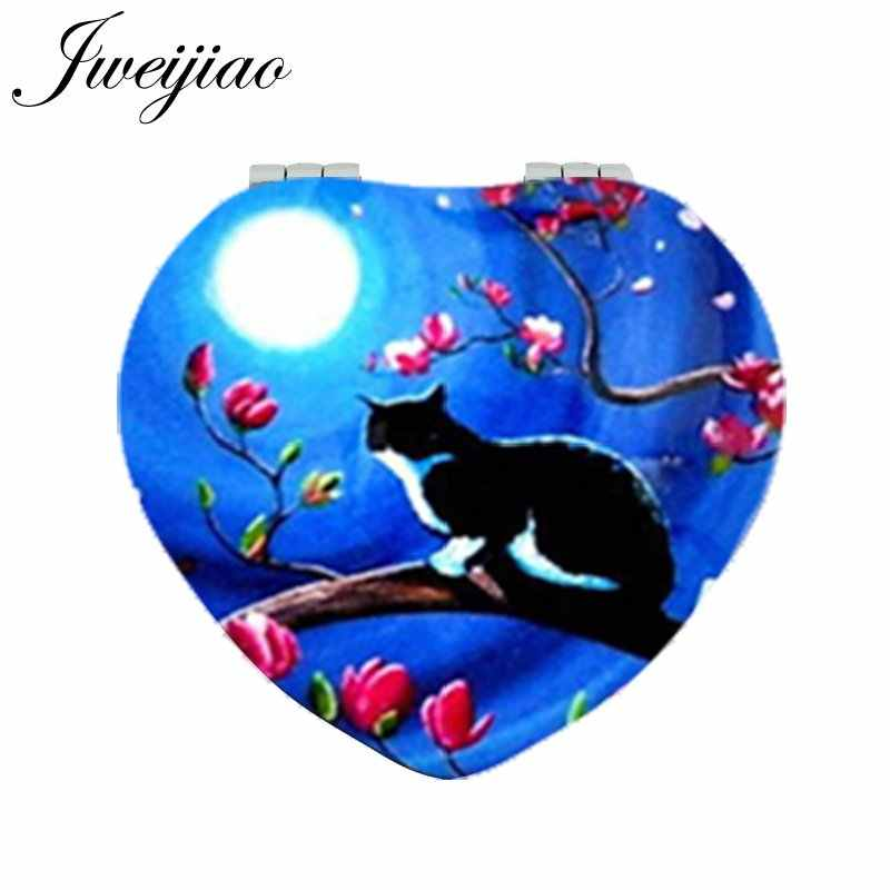 JWEIJIAO Moon and Cat on Branch Heart Pocket Mirror PU Leather Mini Folding 1x/2x Magnifying Makeup Mirror for Beauty Women