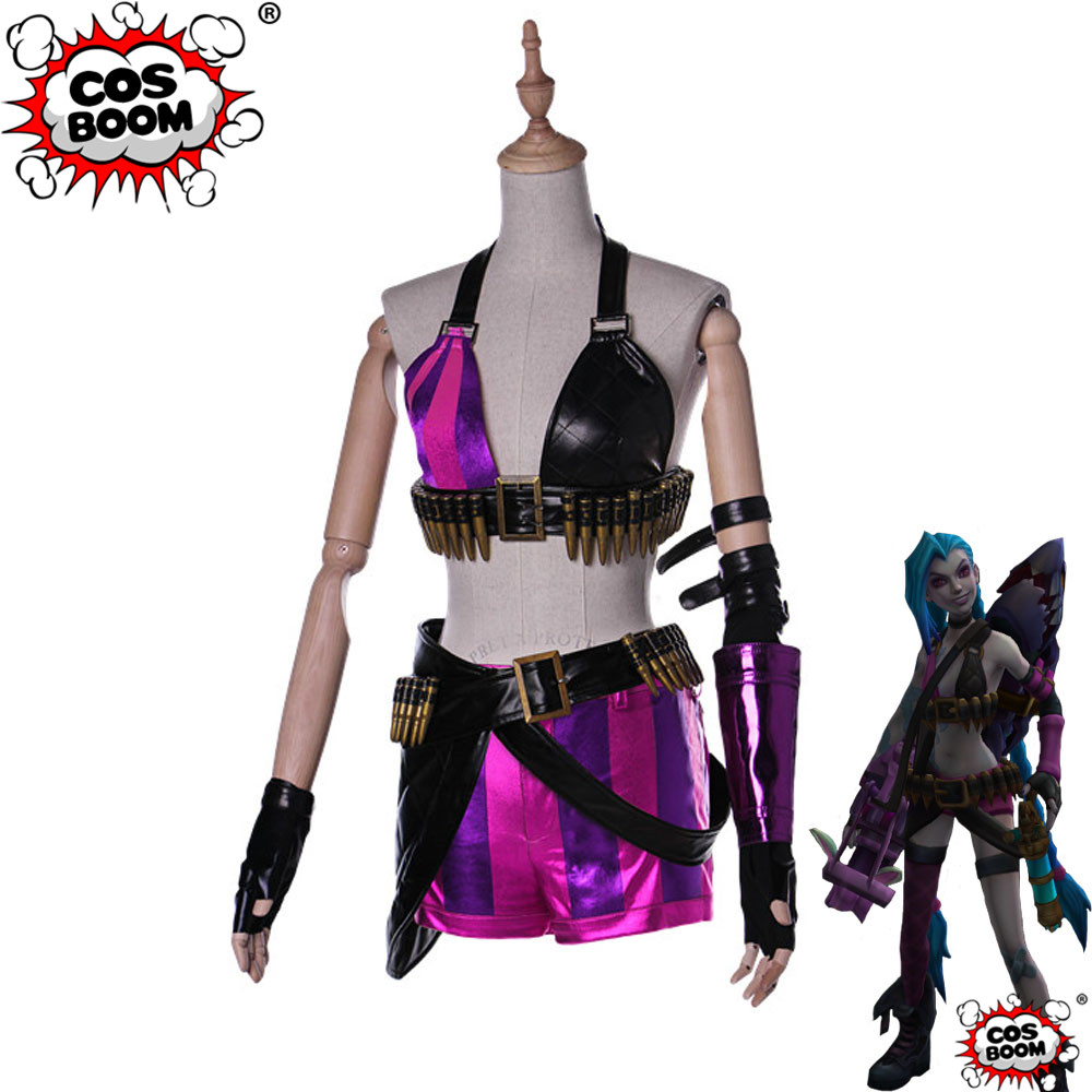 COSBOOM LOL Game Jinx Classic Cosplay Costume Adult Women Sexy Halloween Game Outfit LOL Jinx Costume Custom Made