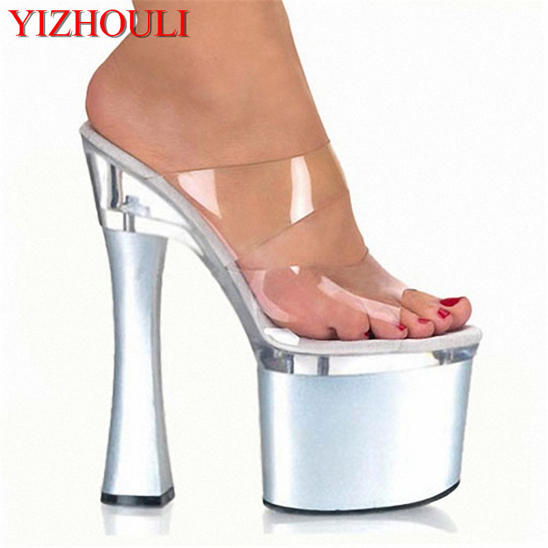 Silver Transparent Platform Sandals 18cm High Heeled Shoes Sexy Hand Made Stripper Shoes 7 Inch Stiletto