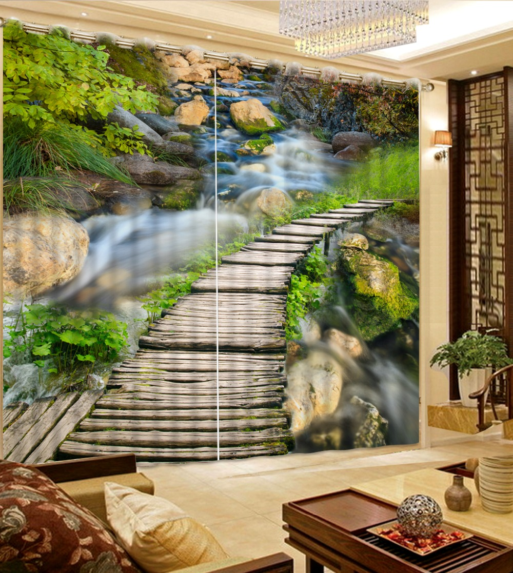 Modern Living Room Curtains waterfall wooden bridge Landscape Curtains For  Bedroom Custom Photo Curtain ChinaOnline Get Cheap Curtain Waterfall  Aliexpress com   Alibaba Group. Living Room Waterfall. Home Design Ideas