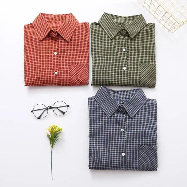 fb9f019d5c7 Hot Dioufond New Women s Vintage Blouses Cotton Plaid Shirt Long Sleeves  Pockets Shirts Ladies Button Blouse