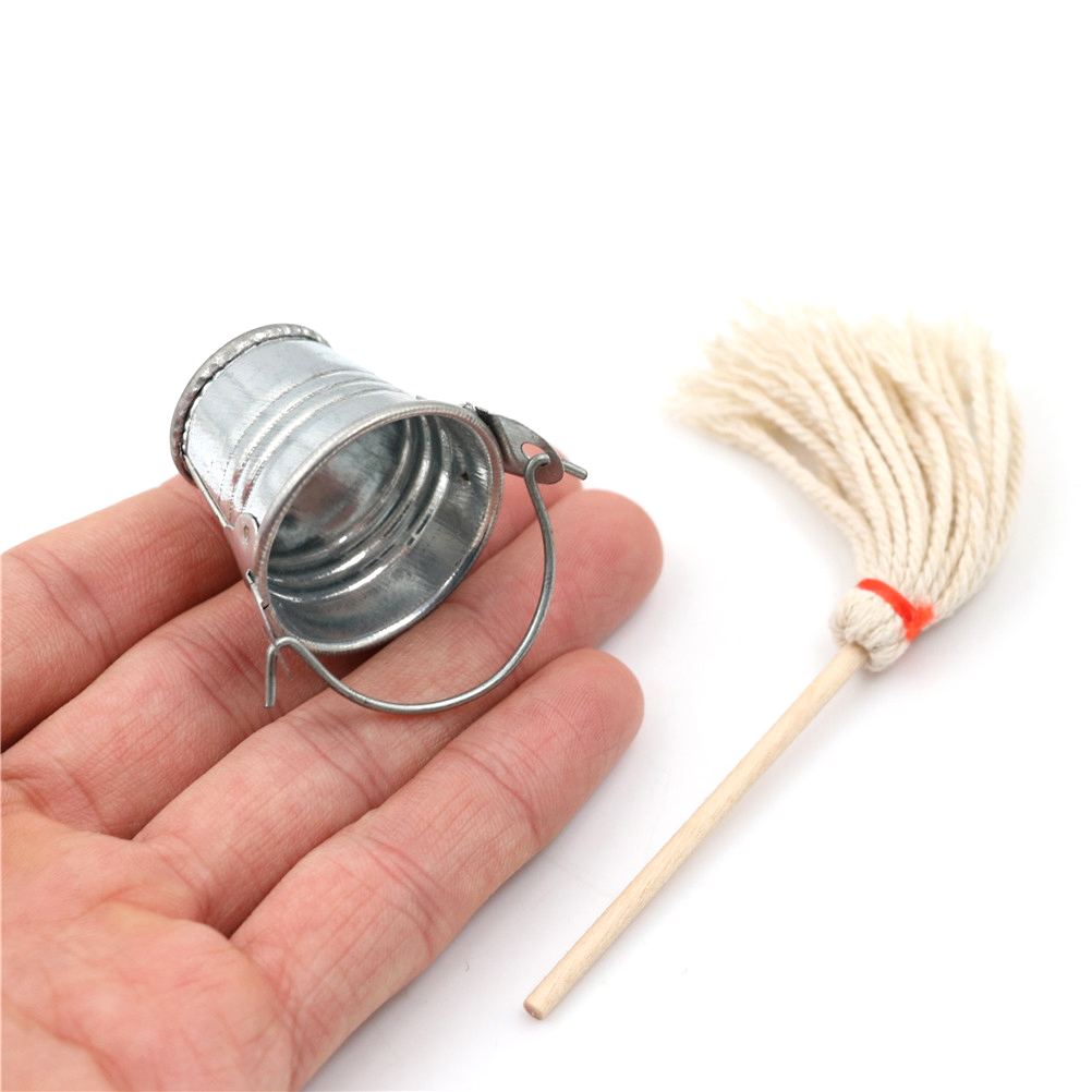 1:12 Dollhouse Miniature Accessories Mop Bucket Simulation Kitchen Garden Furniture Toys For Doll House Decoration