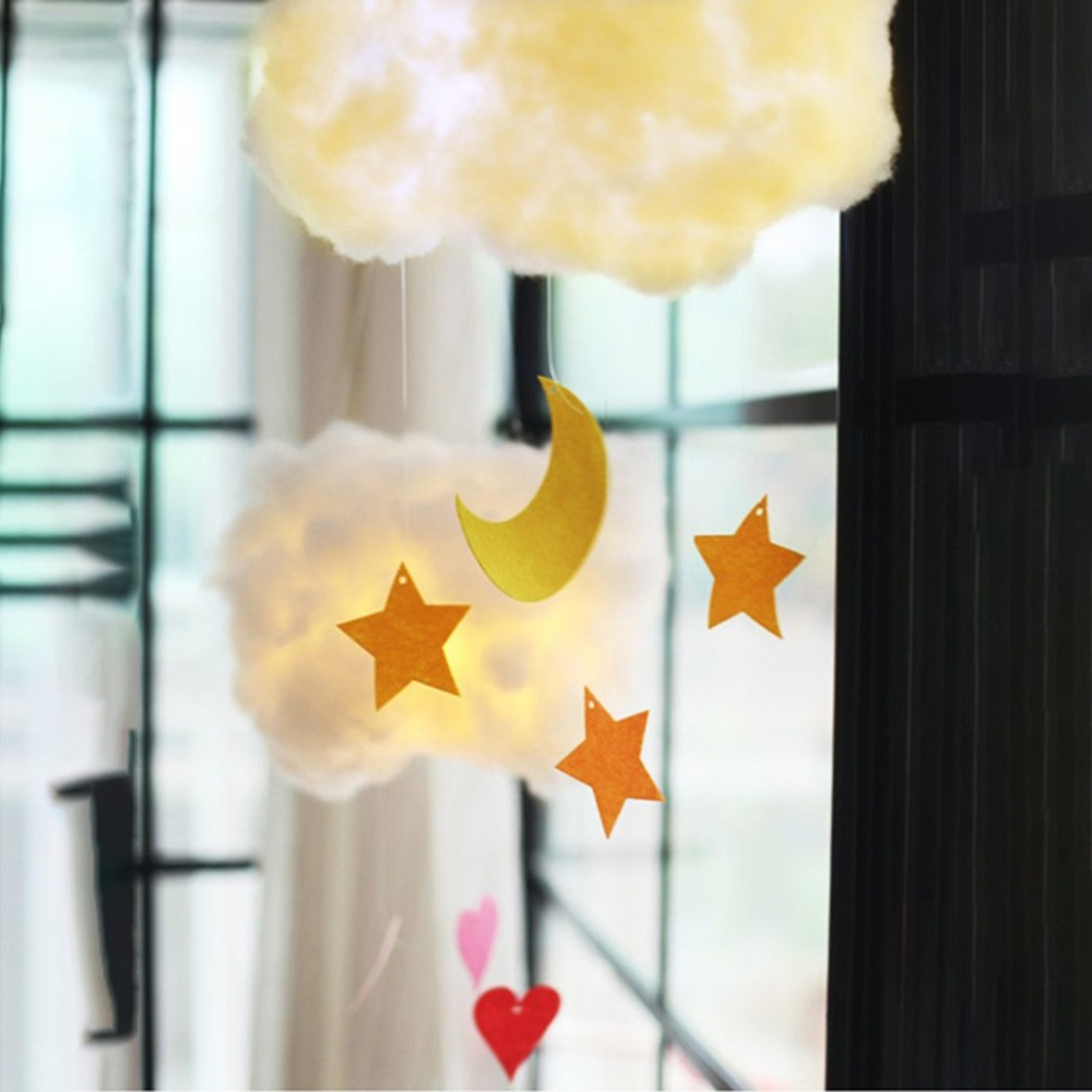 ICOCO DIY Handmade Cotton Cloud Light Star Moon Type Hanging Lamp Cartoon Students Bedroom Corridor Party Decoration Night Light