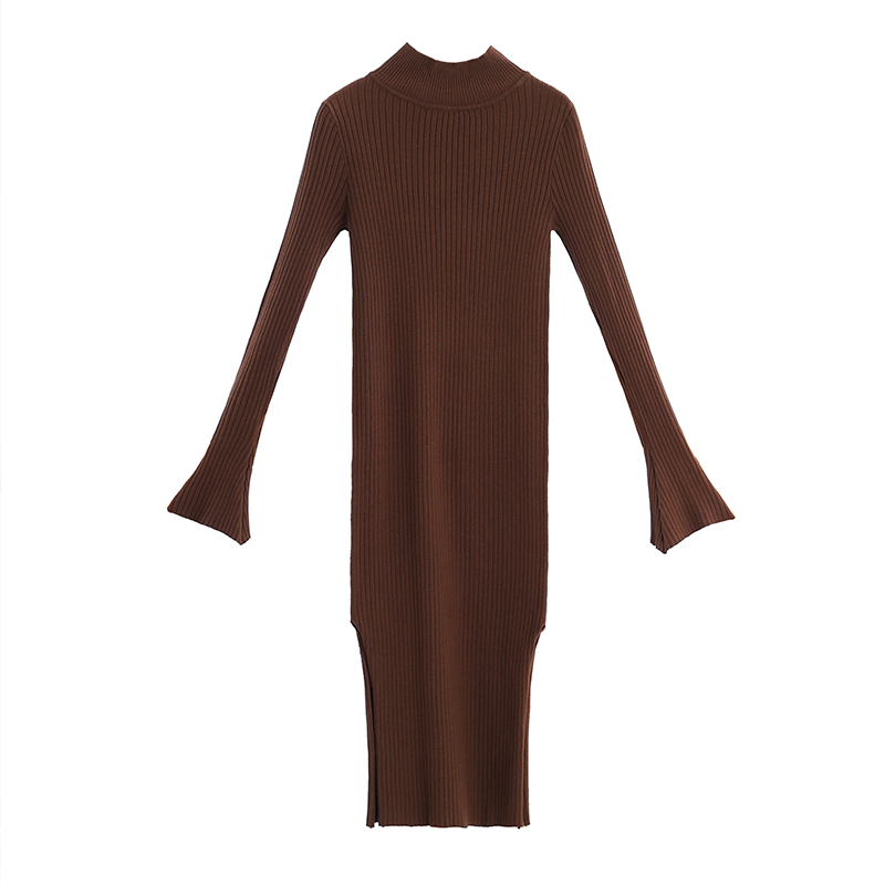 VERRAGEE women sexy club slim-fitting mid-calf 2019 new autumn sheath knitted casual long vintage sweater dress