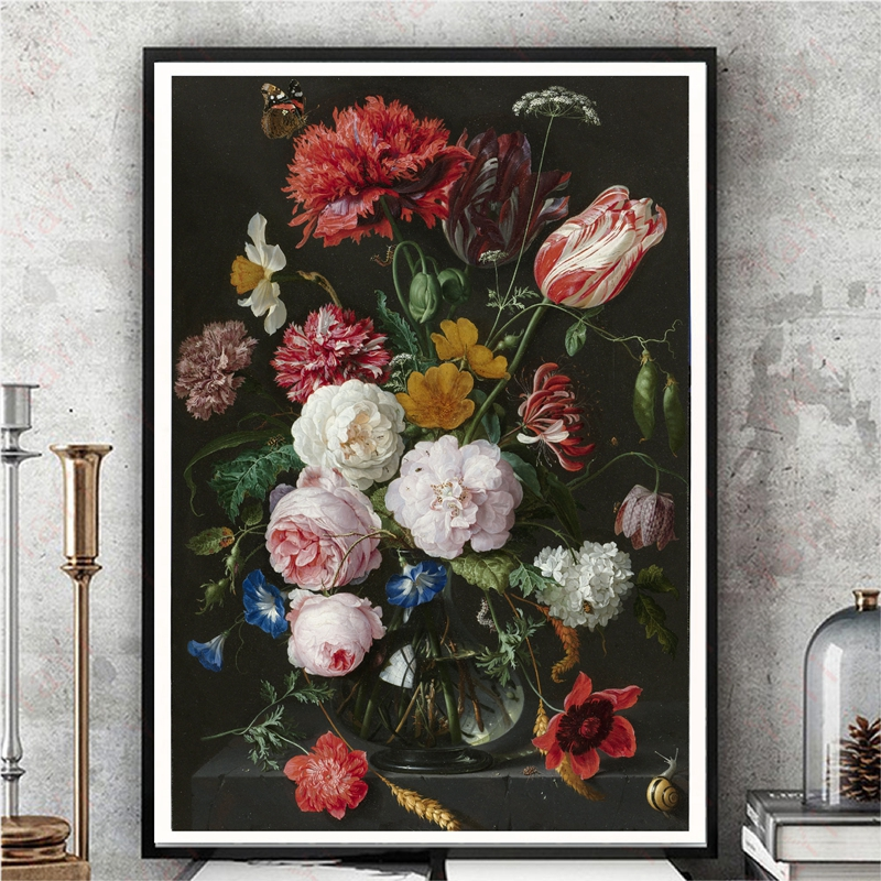 Antique Dutch Still Life Painting Wall Art Canvas Posters Watercolor Large Oil Painting Floral Botanical Illustration Prints