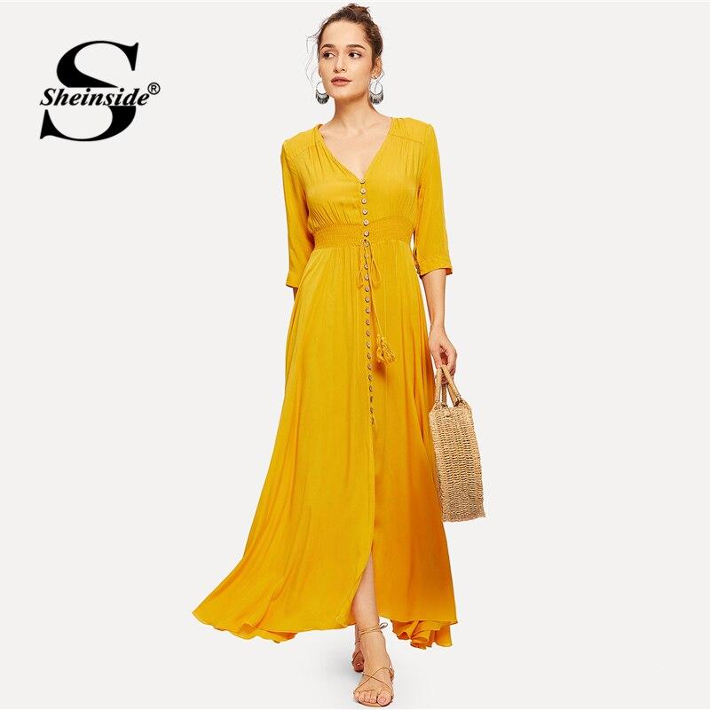 Sheinside Plain V Neck Yellow Elegant Maxi Dress 180625430