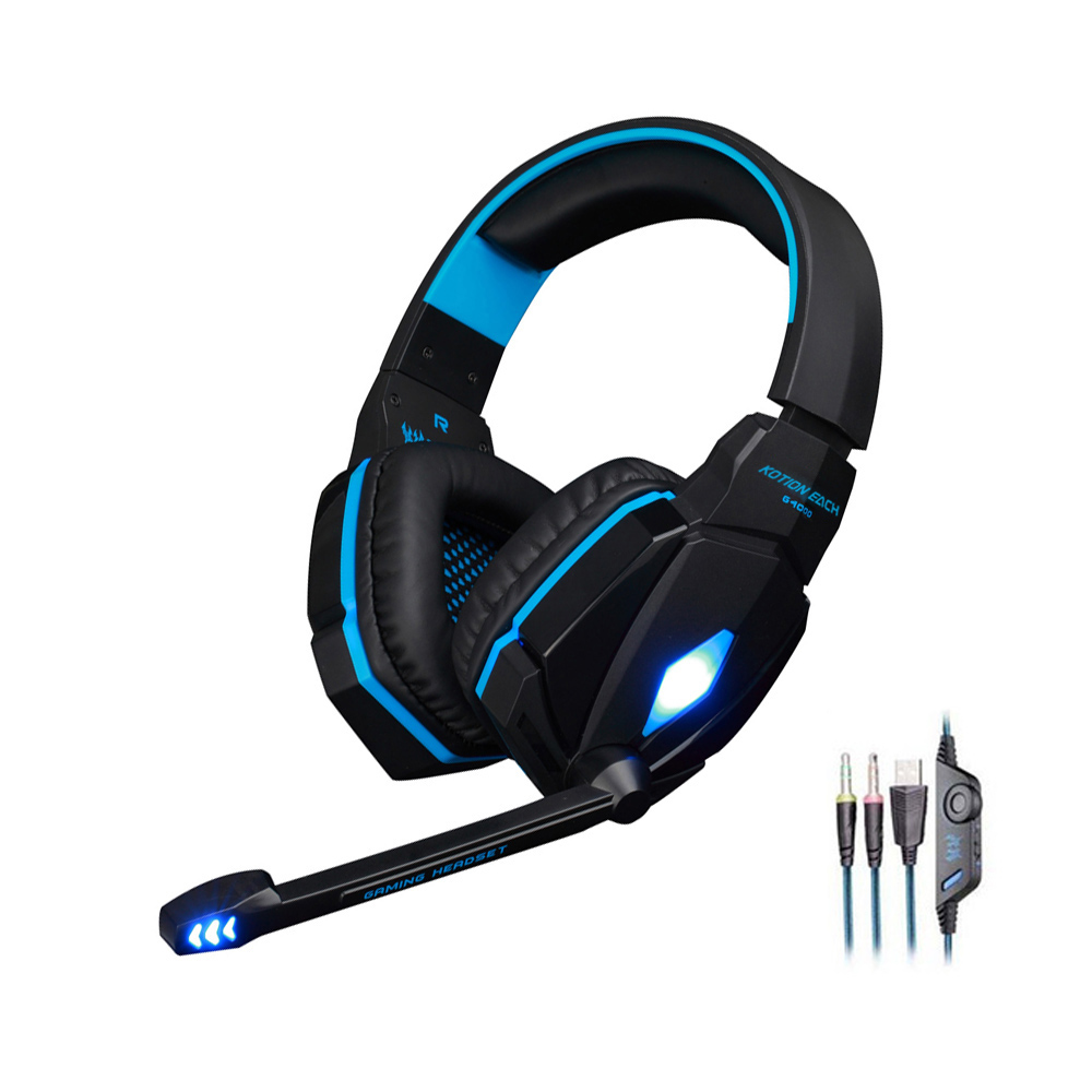 Gaming headset gamer Stereo Sound Wired over-ear headphone with microphone led noise canceling Gaming headphones for computer high quality gaming headset with microphone stereo super bass headphones for gamer pc computer over head cool wire headphone