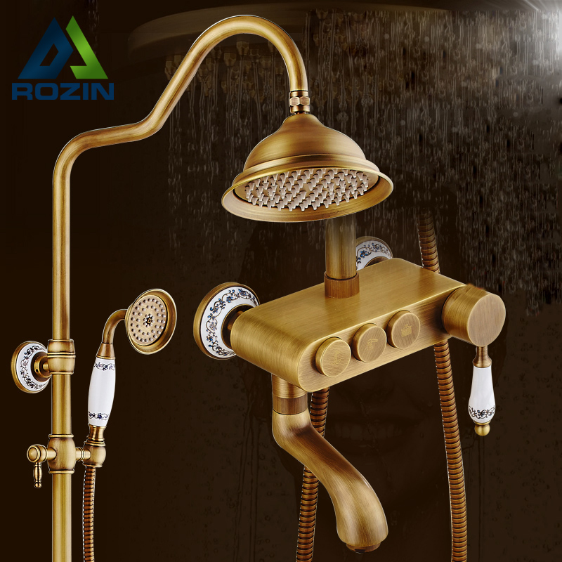 2016 New Antique Brass One handle Rain 8 Shower Faucet Wall Mounted Shower Set + Tub Spout + Ceramic Hand Held Shower antique brass rain shower set with bronze basin faucet