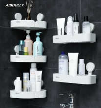 OUSSIRRO High Quality Bathroom Accessories Cute Corner Storage Rack Organizer Shower Wall Shelf with Suction Cup