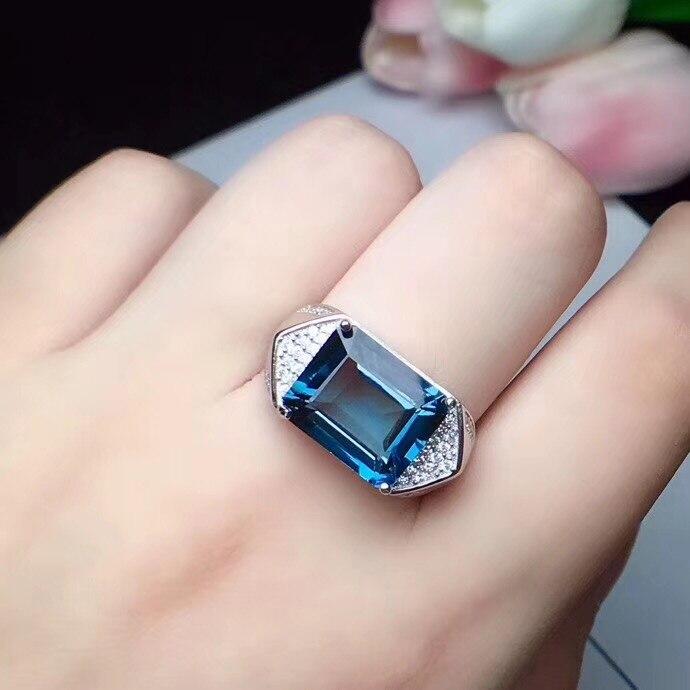 Bague topaze homme bleu réel et naturel bague livraison gratuite 925 argent sterling 10*12mm gemme pour hommes bijoux fins travaillés à la main