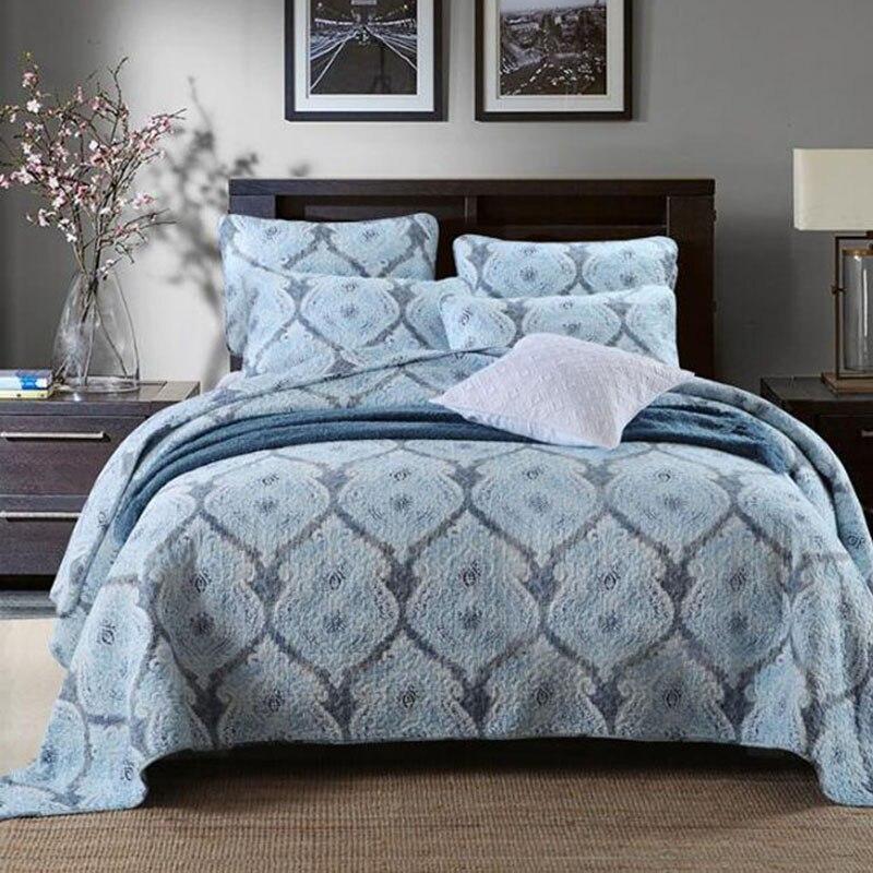 Qualité Tissé Coton Couvre-lit Floral Patchwork Couvre-lits Fleur Motif Lit Couverture Reine King Size Avec Taies D'oreiller Vente Chaude