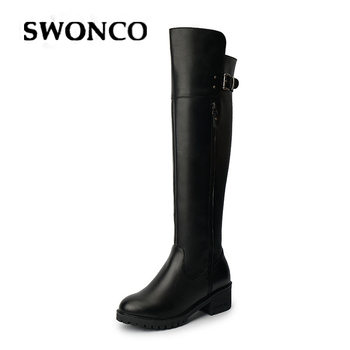 SWONCO Woman High Boots Over The Knee Shoes Genuine Leather Boots Women Autumn 2019 Black Sexy Botas Mujer Female Tall Boot Lady