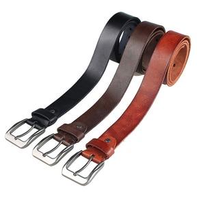 Image 3 - MEDYLA Fashion Mens Belt Top Natural Genuine Leather Sturdy Buckle Men Vintage Belt Suitable for Jeans Casual Pants