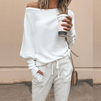 Women Sexy Off Shoulder Sweater Long Sleeve Solid Pullovers Knitted Tops Autumn Winter Knitwear Street Fashion Female Jumper