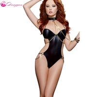 DangYan 2017 New Sexy Lingerie Leather Lenceria Sexy Teddy Lingerie Backless Bandage Cosplay Erotic Lingerie Handcuff