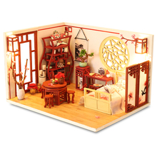 цена на CUTEBEE DIY Dollhouse Wooden doll Houses Miniature Doll House Furniture Kit Casa Music Led Toys for Children Birthday Gift
