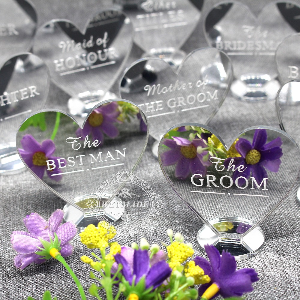 Custom Wedding Silver Mirror Place Setting Name Plaques Table Decorations Personalized Engraved Party Heart Place Card Decor