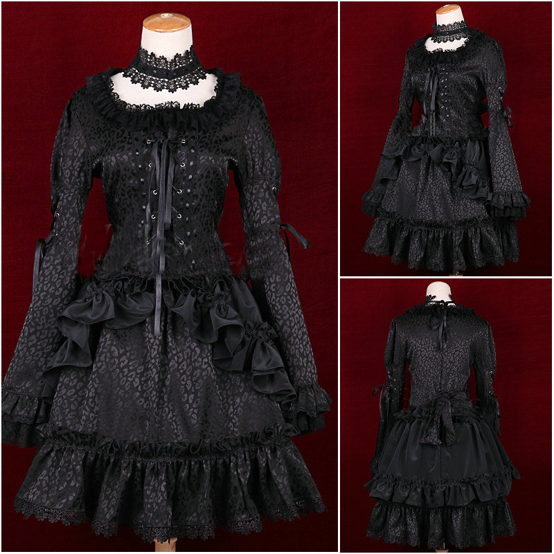 2017 New!Black cotton Gothic Lolita Cosplay Short skirt Dress V 952