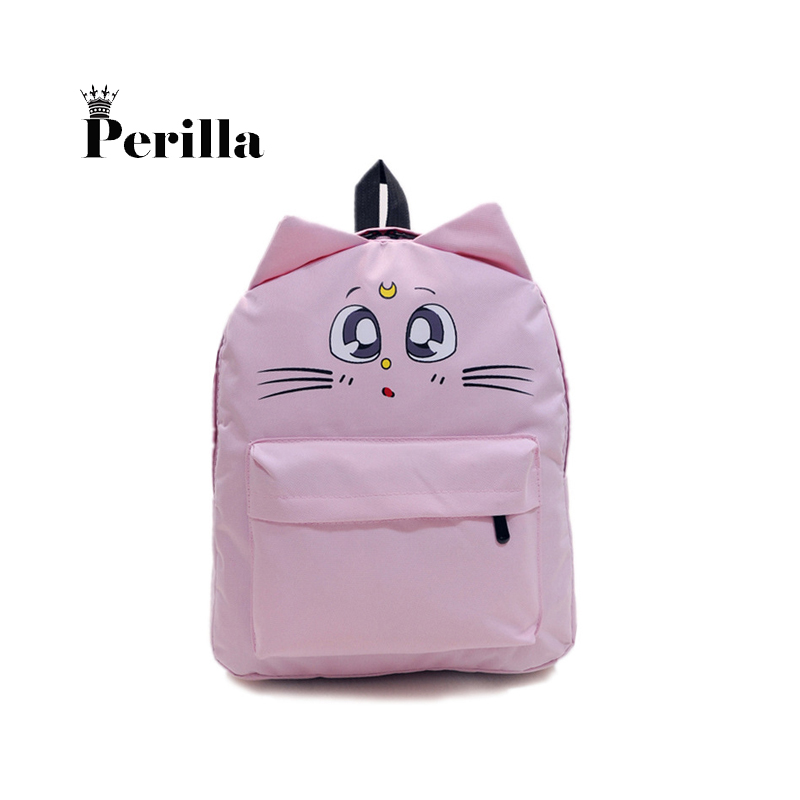 Perilla Fashion Women Backpack Travel Bag Cute Cat Shoulder School Bags Teenage Girls Mini Female Bag Casual Rucksack Bookbags sendefn genuine leather backpack large capacity rivet black shoulder bag women casual backpack teenage girls school travel bags