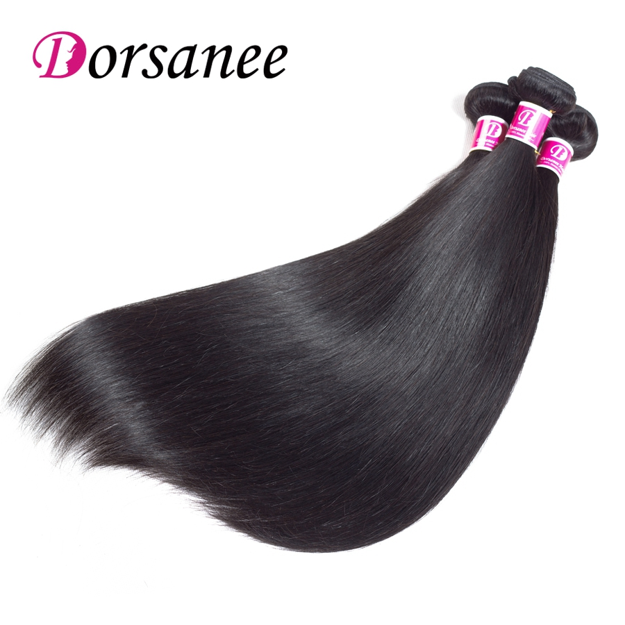 Dorsanee 3 Bundles Indian Straight Hair Wave 100% Human Hair Extensions Natural Color Non Remy Straight Hair Bundles