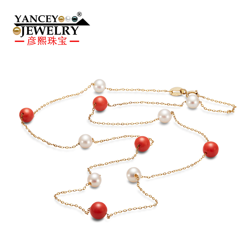 YANCEY 2017 New Round flawless white light freshwater pearls and Red Coral Stone Fine font b