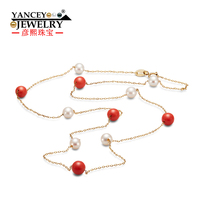 YANCEY Original New Round flawless white light freshwater pearls and Red Coral Stone Fine jewelry Necklaces S925 Silver Necklace