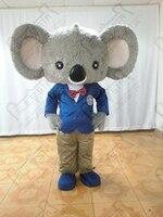 kids suit koala mascot costumes girl and boy koala mascot costumes long plush fur quality animal walking actor