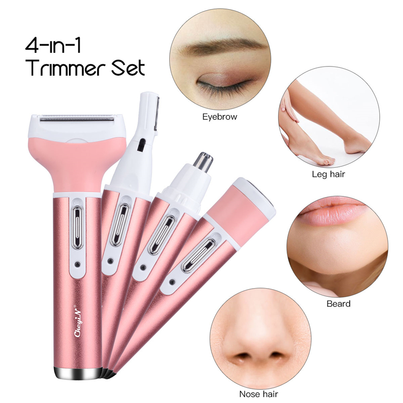 <font><b>4</b></font> <font><b>In</b></font> <font><b>1</b></font> Women Face Facial Body Hair Removal Lady Shaver <font><b>Epilator</b></font> Female Shaving Machine Electric Trimmer Razor For Eyebrow Nose image