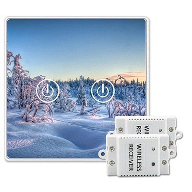 Saful commutateurs tactiles sans fil à distance 220 V panneaux de verre de cristal trempé 2 Gang 2 voies mur LED interrupteur étanche à la lumière