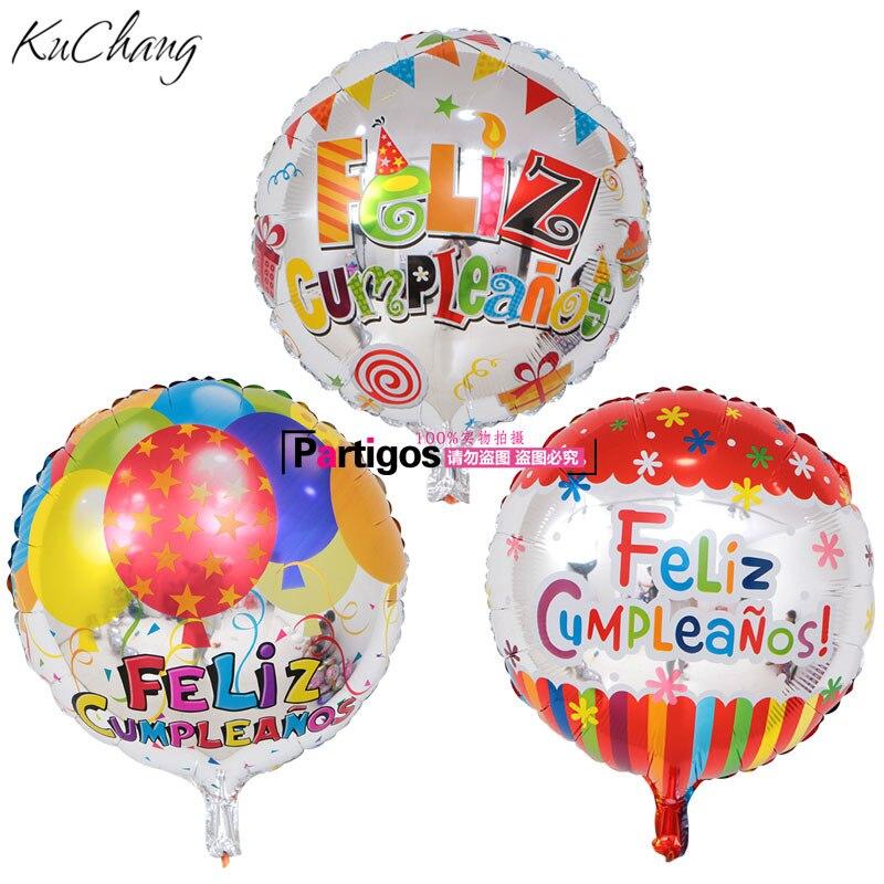 50 шт./лот размером 45*45 см Фольга воздушные шары испанский воздушные шары с днем рождения свадебное платье для вечеринок, дней рождения Globos ве