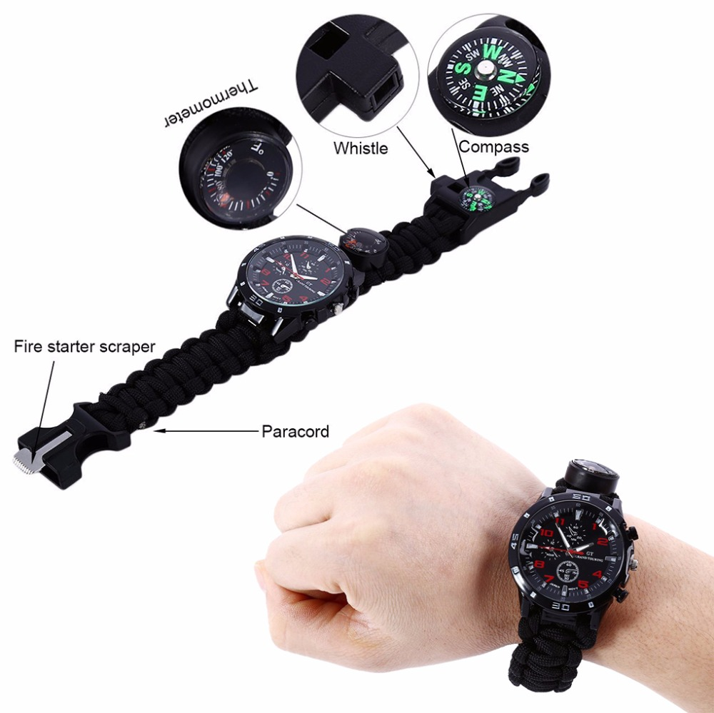 Military EDC multi Outdoor Camping survival bracelet Tactical watch compass Rescue Rope paracord equipment Tools kit