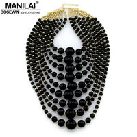 MANILAI Charm Multilayers Beads Statement Necklaces For Women Fashion Jewelry Big Imitation Pearl Maxi Necklaces & Pendants