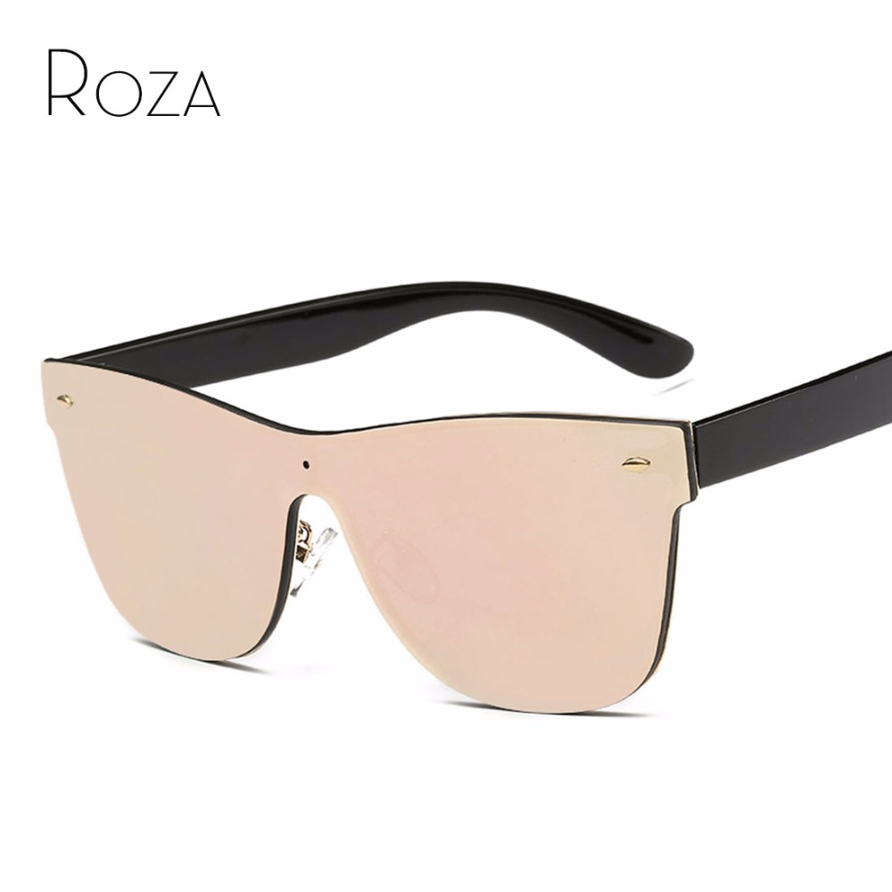 ROZA Women's Sunglasses Conjoined Lens Brand Design Rimless Plastic Temple Sun Glasses Oculos De Sol UV400 QC0323