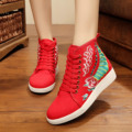 Vintage Embroidery Shoes Wings Floral embroidered board shoes leisure travel national canvas Soft Lace up Single shoes