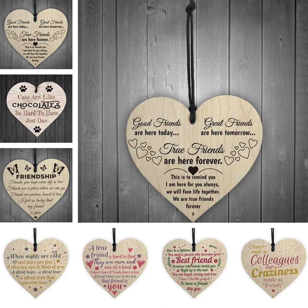 DSstyles Small Loving Heart Shape Hanging Pendant Home Door Decor Crafts Wall Hanging Wooden Graved Letter Pendants