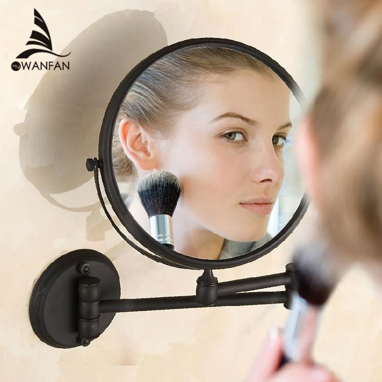 Bath Mirrors Black 8 inch Bathroom Mirror Magnifying Mirror With Wall Mounted Cosmetic Mirror For Bathroom Illuminated H-52 they do it with mirrors