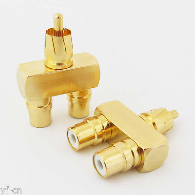 1pc Gold Plated 1RCA Male to 2RCA Female Connector RCA Audio Y Splitter Adapter 4pcs gold plated right angle rca adaptor male to female plug connector 90 degree