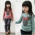 2015 nuevo invierno de Corea ropa de niños felpa cordero niñas encapuchados suéter niños de la historieta sudaderas niños sudadera rosa