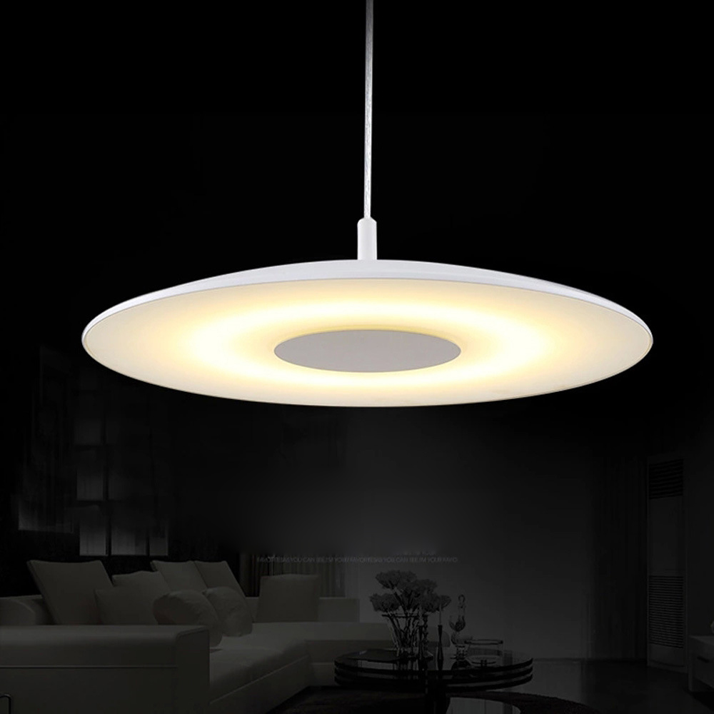 D50cm Modern White Warm acrylic paint round circle hanging lamp 24W led dining room pendant light household suspend lighting