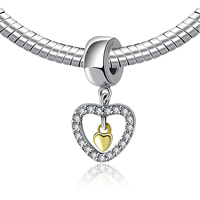Authentic 925 Sterling Silver Bead Charm Gold Heart In Full Crystal Heart Pendant Beads Fit Pandora