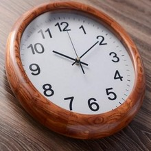 High quality Wooden Wall Clock Round Clock Contracted Living Room Bedroom Mute Watch Chinese Style Wall World