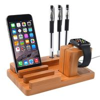 ALLOET Multifunction Wooden Charging Station Charger Dock Stand Holder For Apple Watch IPhone 5 6 7