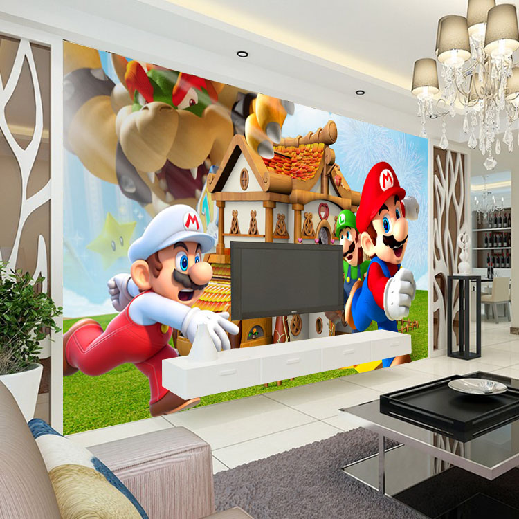 Free Shipping Super Mario Photo Wallpaper Personalized Custom 3D Wall Mural  Game Wallpaper Childrenu0027s Room Boys Kids Bedroom Room Decor Sofa Background  Wall ... Part 38