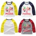 Criança do sexo masculino T-shirt da longo-luva 2017 primavera das crianças roupa do bebê da criança camisa básica o-pescoço top u4686