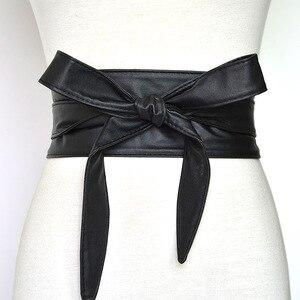 Image 1 - Cinturón de cuero sintético con cordones para mujer y niña, corsé ancho, cinturón adelgazante de cintura alta, lazos, VKAC1002