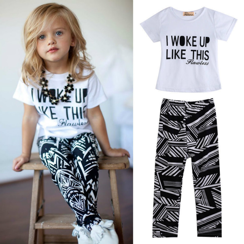 Cute Kid Girls T-shirt Tops Zebra Legging Sets Clothes Short Sleeve Letters Print Tees Pants Outfits Set Summer family fashion summer tops 2015 clothers short sleeve t shirt stripe navy style shirt clothes for mother dad and children
