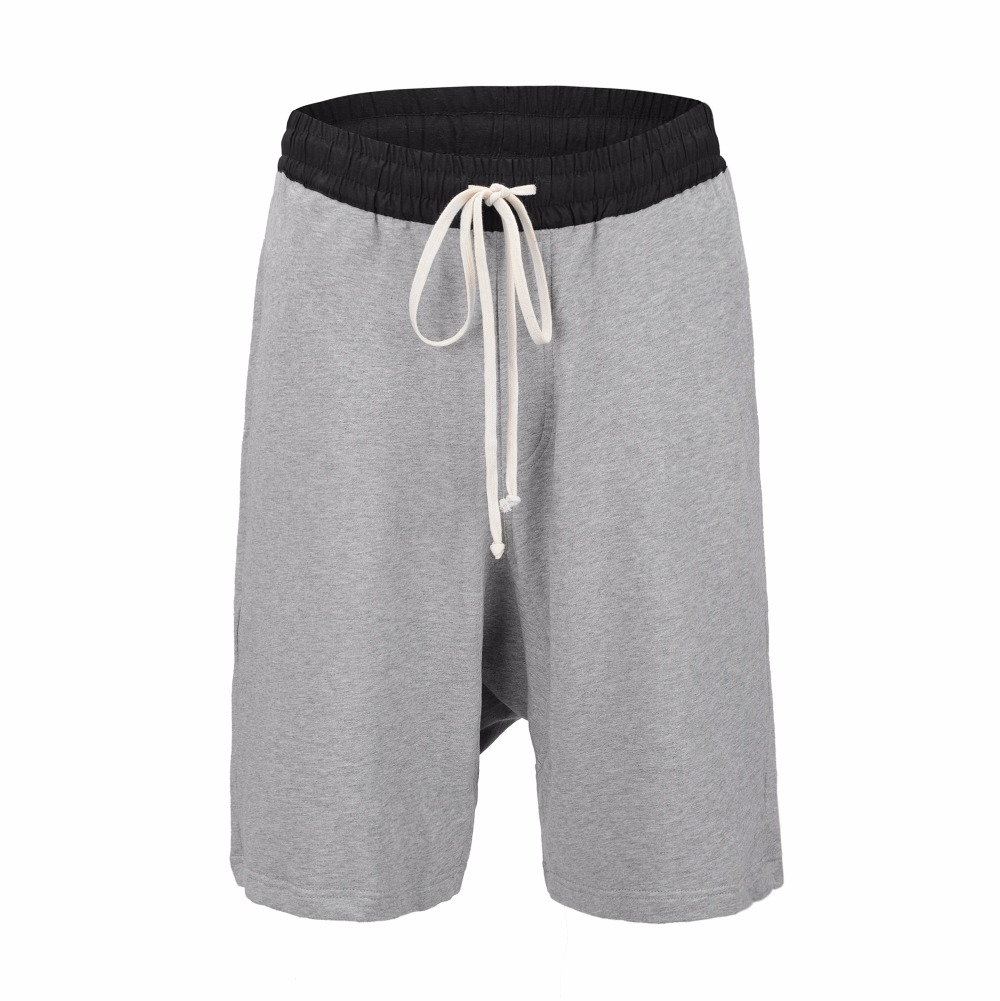 2018 Summer Hiphop Low-Crotch Terry Shorts Mock Fly Cotton Drawstring Track Shorts S-3XL Free Shipping