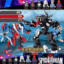 2019 NEW Superheroes Spiderman And Venom Mech Building Blocks Compatible Marvel Avengers Endgame Figure Toys 76115 LegoINGlys