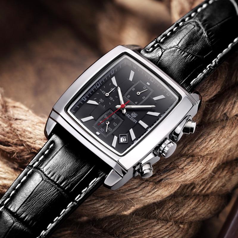 Mens Watches Top Brand Luxury MEGIR Men Military Sport Luminous Wristwatch Chronograph Leather Quartz Watch relogio masculino